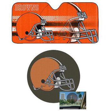 Licensed Official NFL Cleveland Browns Car Truck Windshield Folding SunShade & Perforated Decal