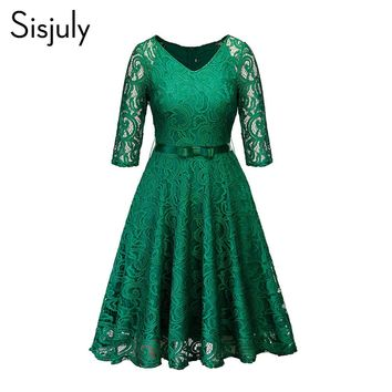 Sisjuly Women Party Vintage Black Blue Green See Through Hollow Out Floral Lace Dress Bow Ribbon Belt Fall Winter Work Dresses