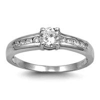 Sterling Silver CZ Engagement Ring size 5-10