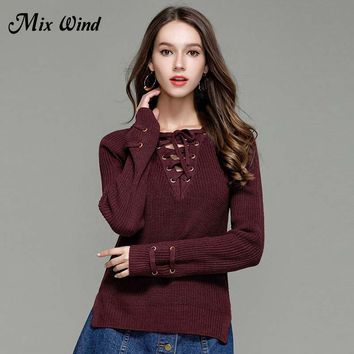 Mix Wind Knitted Winter Sweater Women  2017 Jumper Women's Fashion Novelties V Neck Pullover Sexy Casual Winter Sweaters