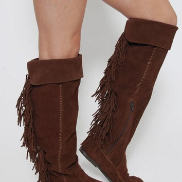 Vintage MINNETONKA Boots Suede FRINGE Moccasin Boots Leather Hippie Boots Over The Knee Boots Size 8