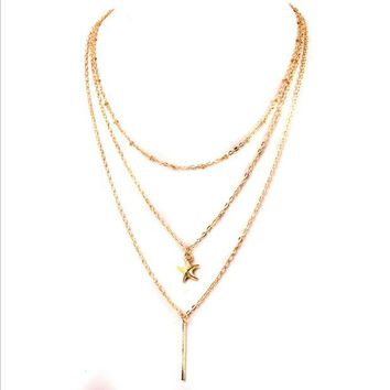 ONETOW The new multi - layer clavicle chain European and American style necklace starfish necklace