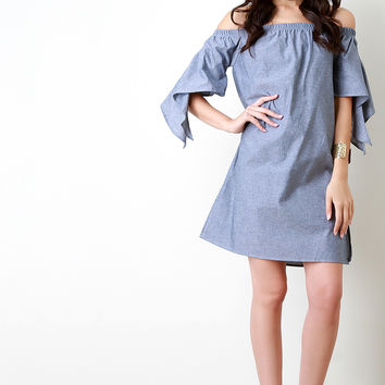 Chambray Off The Shoulder Slit Sleeves Dress