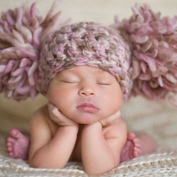 Baby Girl Hat Pom Pom Beanie Hat Infant Hat Crochet Baby Hat Photo Photography Prop Newborn Hat Winter Hat Pink Brown Cream Ivory Beige