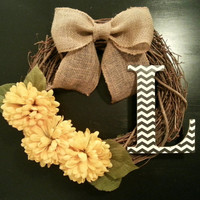 Grapevine Wreath, Fall Wreath, with Chevron Monogram Yellow Floral and a Burlap Bow