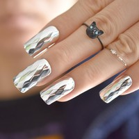 Fashion Metallic Silver False Nails Metal 3D Rhombus Pattern Long Square Fake Nails Cool Style Art French Tips