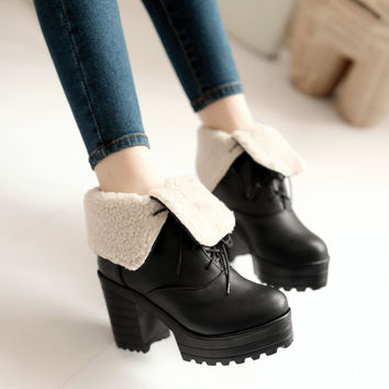 Women Ankle Boots Lace Up High Heels Thick Heeled Platform Winter Shoes Woman 2016 3566