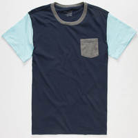 Blue Crown Tri Color Mens Pocket Tee Blue  In Sizes