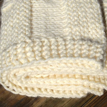 Baby Chunky Blanket Afghan  Hand Knit Off by BabyBlanketsAndETC