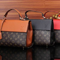 """Louis Vutitton"" Fashion Retro Logo Print Multicolor Single Shoulder Messenger Bag Women Handbag"