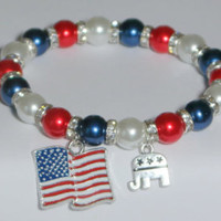 republican bracelet - election 2016 - political gift - vote 2016 - campaign gift - trump for president - gop souvenir - handmade bracelet