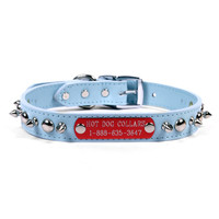 Spiked and Studded Leather Personalized Name Plate Dog Collar