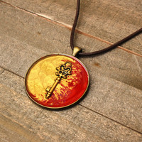 Red and Gold Handpainted Necklace,Resin Jewelry,Wearable Art,Pebeo Necklace,Key Jewelry,Steampunk Necklace,Artisan Jewelry,OOAK Jewelry