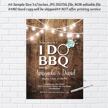 I Do BBQ Invitations, Rustic Shower Invites,  Couples Shower BBQ, Wedding Shower BBQ Chalkboard, Engagement Party, Bridal bbq  - card 1021