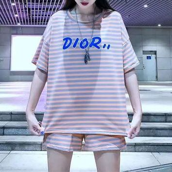 """""""DIOR""""Woman's Leisure  Fashion Letter Ebroidery Printing Stripe Loose Short Sleeve Shorts Two-Piece Set Casual Wear"""