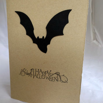 Happy Halloween Card Bat Card Hand Made Card Handmade Halloween Card Hand Stamped Card Handstamped Card