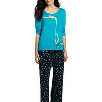 Hue Sleepwear Women's Double Face Jer Cocktail Pajama Set, Capri Brez, Medium
