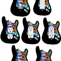 ColoRiffic Tie Dye Guitar Light Switch Outlet GFI Decora ,cable ,blank plate cover