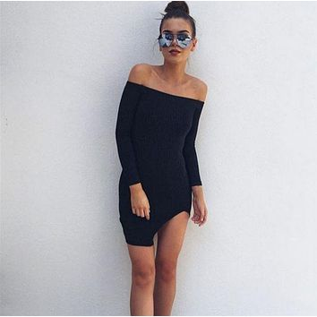 DCCKJ1A Autumn new word shoulder long-sleeved dress chest wrapped