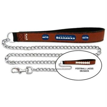 PEAP7N7 Seattle Seahawks Football Leather and Chain Leash