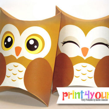 Owl Pillow Boxes - Owl Favor Box - Favor Box - Gift Box - Owl Box - Woodland Party - Woodland Celebration