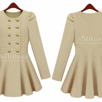 Collarless Wool Double Breasted Fitted Flared Trim Pleats Pea Coat Jacket Cloak