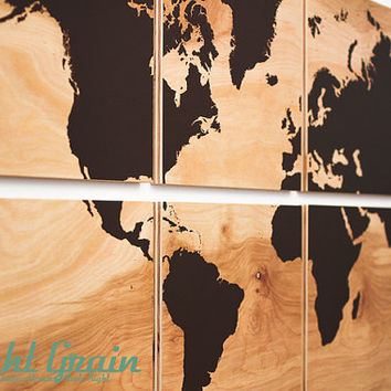 XL World Map Wall Art on Natural Birch Wood Grain Panels - Custom Made