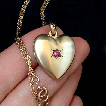 W&SB Signed Antique Victorian LOCKET Pendant HEART Gold Filled, Ruby Paste Stone, Rose Gold Filled Chain c.1890s, July Birthstone