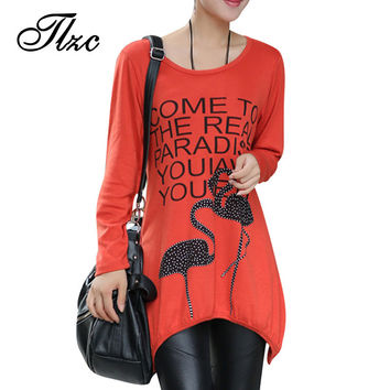 Big Size L-4XL Summer Lady T shirt Ropa Mujer Long Length Loose Women Cotton Tops & Tees Round Neck Flamingos Pattern