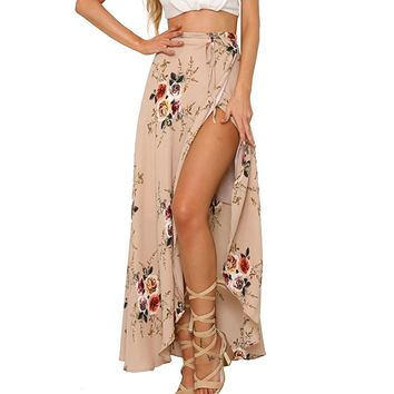 Women's Sexy Bohemian Floral Slit Summer Time Cover Up Maxi Skirt