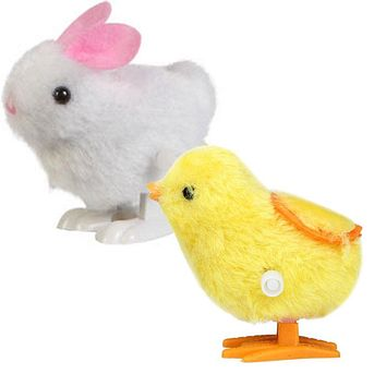 Toys for Children 1+1 Chick and Bunny 2 pcs New Infant Child Toys Hopping Wind Up Easter brinquedos juguetes mini
