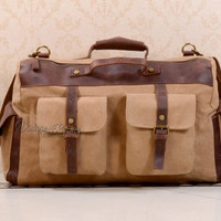 16 Inch Canvas leather duffel Travel bag - Khaki