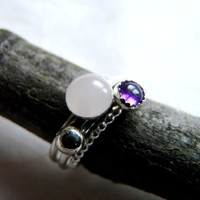 Silver Rosequarz and Amethyst stacking ring set
