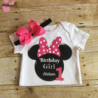 Minnie Birthday Outfit, Pink Minnie Mouse Onesuit, Minnie Mouse Hair Bow, 1st Birthday, 2nd Birthday, 3rd Birthday, Personalzied Minnie
