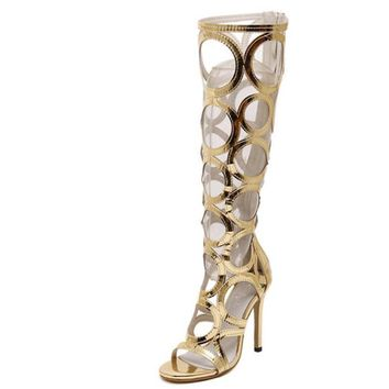 Vogue Gladiator Gold Sandals Knee High Cool  Boots Women Cut-outs 11cm High Heel Sandals Woman Shoes Evening Party Tacones