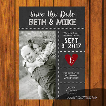 Chalkboard Save The Date / Save the date Chalkboard/ Save the date / Country Save the date / Photo Save the Date / Chalkboard