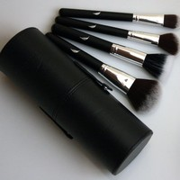 Makeup Brush Set - Big Brushes - 4 Superior Quality Brushes with Stylish Cylinder Case - Professional Designer Cosmetic Brush Kit - Combo Synthetic/Natural Hair - Ergonomic Handles - Tested & Proven - At Home or Travel - 30 Day Money Back Guarantee