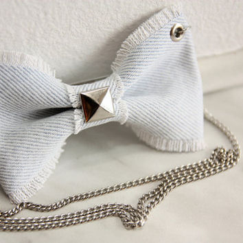 Light Blue Jeans Bow Necklace