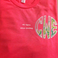 Short Sleeve T-Shirt, NEON COLORS,  with Lilly Pulitzer Fabric in a Circle Monogram Applique