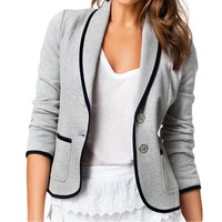 Gray Long Sleeves Button Slim Fit Blazer