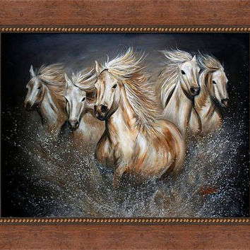 Wild Horses in Western Collection-Espresso / Gold Stud Vintage Frame - FREE US SHIPPING - The Symphony by Teshia