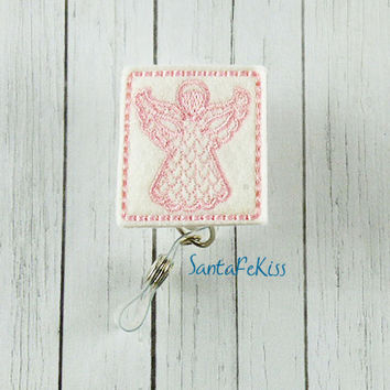Little Angel ID Badge - Embroidered Felt Badge Reel - Retractable ID Badge Holder - Badge Reel Clip - Medical Badge