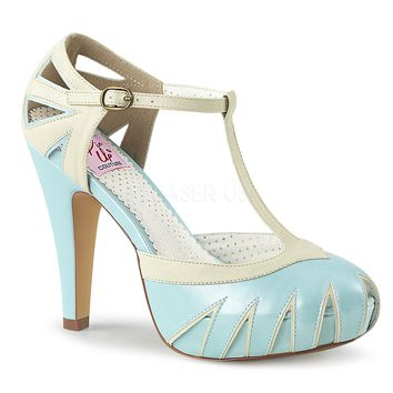 Pin Up Couture Bettie-25 Two Toned T-Strap Pumps