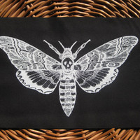 Large Skull Moth Original Drawing handmade screen printed BACK PATCH, white on black