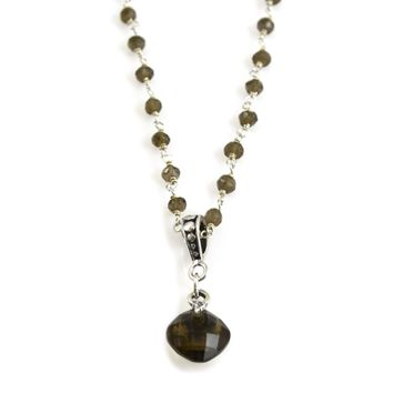 Smoky Topaz and Sterling Silver Rosary Chain