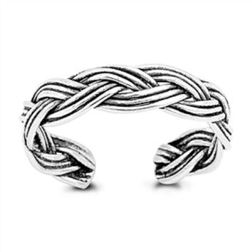 Sterling Silver Woven Braided Toe Ring/ Knuckle/ Mid-Finger 4MM