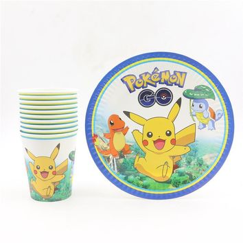 20pc/lot  go design birthday decoration event party supplies pikachu disposable paper cups plates set for kids boys girlsKawaii Pokemon go  AT_89_9