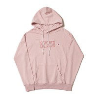 Champion GUCCI GG Embroidery Pattern Pink Hoodie