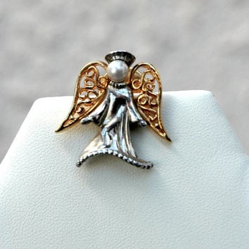 Two Tone Angel Tac Pin Vintage