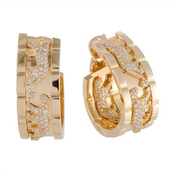 Cartier Panthere Diamond Yellow Gold Clip-On Hoop Earrings